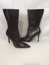 """Colin Stuart Brown Boot Leather High Heel Shoes Size 5 4"""" Heel Free US Shipping"""