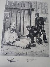 Lithographie ancienne-Chocarne-Moreau- gravé Maurou-Sté Amis des Arts-fin XIXe
