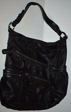 Designer JUNIOR DRAKE Black Leather Tote Satchel Shoulder Bag Handbag Purse