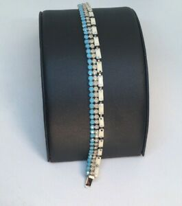 """Coach Cupcake Bracelet Turquoise White Crystals Chain Link 7"""" Fashion  J1"""
