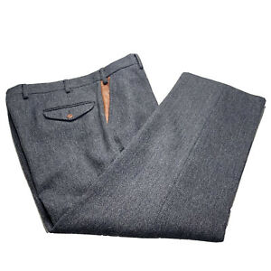 38 x 29 Orvis Heavy Lined Grey Herringbone Tweed / Leather Outdoorsman Pants