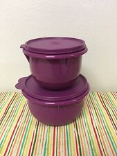 Tupperware Nesting Mixing Bowls Set of Two Plum w/ Matching Seals 4, 8 Cups New