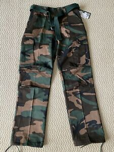 NWT Men's Regal Wear Green Camouflage Camo Belt Cargo Pants ALL SIZES/LENGTHS