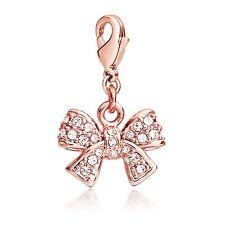 Ribbon Bow Charm Swarovski Elements Rose Gold Plated fit TS Charms Bracelet 0898