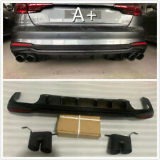 For 2020-2021 Audi A4 S4 NEW Rear Diffuser W/ Exhaust Tips Body Kit Parts Black