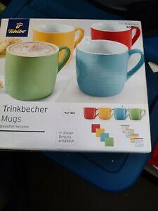Tchibo TCM  4 Tassen Keramik mehrfarbig