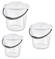 Small Large Clear Plastic Bucket With Lid Storage Container Box Bin Tub Caddy