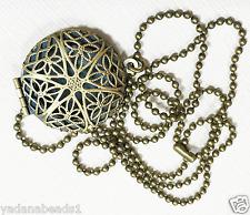 Antique brass filigree  flat round  locket with iron ball chain