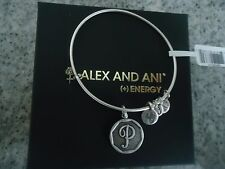 Alex and Ani Initial P Charm Bangle Bracelet Russian Silver New W/Tag Card & Box
