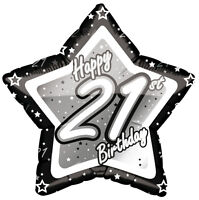 BLACK & SILVER - Age 21 - Happy 21st Birthday PARTY ITEMS Decorations Tableware