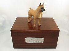 Beautiful Paulownia Wooden Personalized Urn With Tawny Boxer Figurine