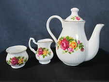 Childs Tea Set Doll Teapot Creamer Sugar Bone China Cottage Rose Vtg Set of 3
