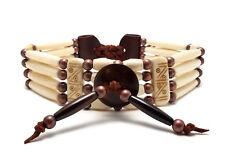 Handmade Antiqued Traditional 4 Row Buffalo Bone Hairpipe Tribal Choker Necklace