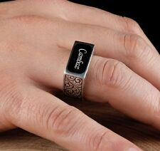 Handmade 925 Sterling Silver PERSONAL NAME WRİTTEN Mens Ring us  - ALL SİZE.