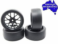 Wheels & drift tyres for 1:10 RC cars Black 7Y +3 offset may suit Tamiya Sakura