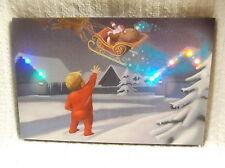 Bye Santa Christmas Lighted Canvas Wall Decor Sign Sleigh Multi Colored Lights