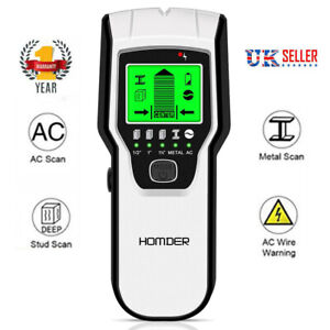 5in1 LCD Stud Wood Wall Center Finder Scanner Metal AC Live Wire Detector Finder