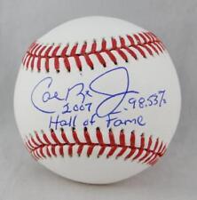 Cal Ripken Jr Autographed Rawlings OML Baseball W/ HOF & %- JSA W Auth *Side