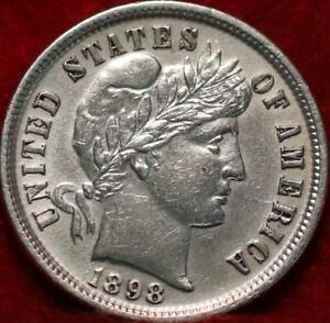 Uncirculated 1898 Philadelphia Mint Silver Barber Dime