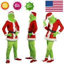 Adult The Grinch Costume Xmas Cosplay Men Christmas Santa Fancy Dress Outfit Set