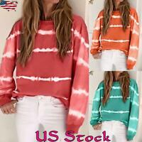 Women Casual Gradient Color Long Sleeve Top Shirt Ladies O Neck Sweater Fall US