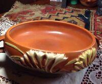 Roseville USA Round Handled Bowl Freesia Tangerine Vintage Flawless