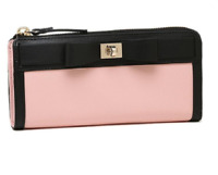 NEW Kate Spade Rose Pink Zip Around Bow Leather Clutch Wallet Purse was $137