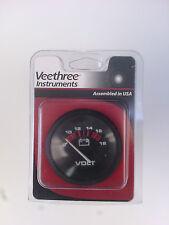 "Voltmeter 2"" black 0-18v Veethree instruments for marine-boats"
