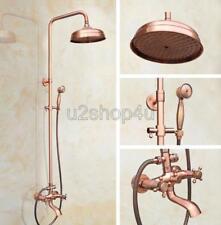 "Antique Red Copper Bathroom 8"" Rainfall Shower Faucet Set Tub Mixer Tap Urg511"