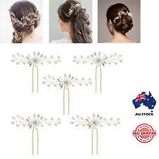 5pcs Pearl Flower Crystal Hair Pins Vintage Wedding Bridal Bridesmaid Side Comb