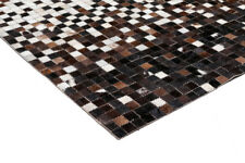 New Leather Hide Patchwork Area Rug Carpet, Natural shades, 4'x6'
