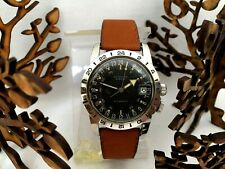 GLYCINE AIRMAN VINTAGE AUTOMATIC PILOTS WATCH 24 HRS HACKING SECONDS WORKING