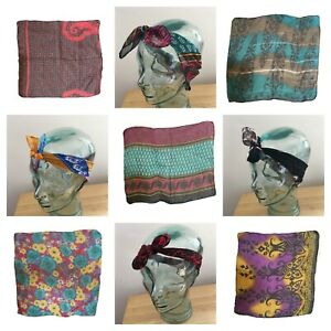 Chiffon Style Square Scarf Headband Wrap Head Band Hair Bandana Tie Up Indian