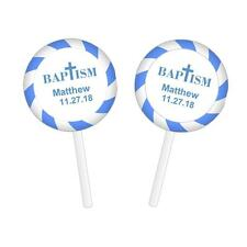 48 Personalized Baptism Christening Lollipop Round Stickers Labels Blue 1.2""