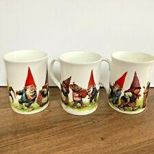 Rien Poortvliet Gnomes Fine Bone China Mugs x 3 Scandi Tomte Nisse Tonttu
