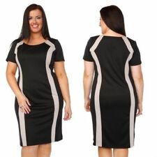 Business Crew Neck Short Sleeve Dress Plus Size for Women