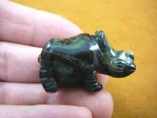 (Y-Rhi-563) Rhino rhinoceros Green black gemstone Figurine carving I love rhinos