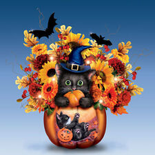 Scaredy Cat Tricky Little Treat Cat in Pumpkin - Halloween Flowers and Vase