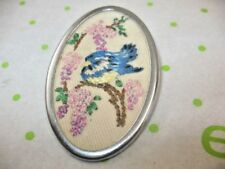 Vintage Hand Embroidered BIRD on Branch with WISTERIA FLOWERS Brooch Pin ~ 10A8