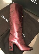 New Chanel Tall Leather Cap Toe Camellia Burgundy Boots 41 $1750