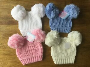 SPANISH STYLE RIBBED POM POM HATS, WHITE,PINK,BLUE,CREAM 0/12  MONTHS