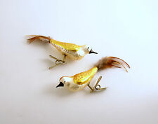 Glass Christmas Ornaments Gold Glass Clip On Birds