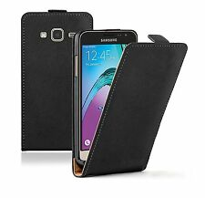 SLIM BLACK Leather Flip Case Cover Pouch For Samsung Galaxy J3 2016 (+2 FILMS)
