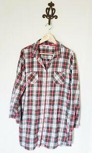 Victoria's Secret Plaid Red Night Shirt Pajamas Size Large Flannel PJ Lounge