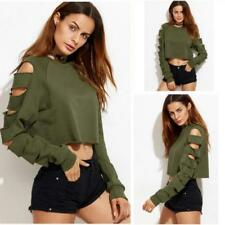 Women Long Sleeve Hollow Out Crop Tops Blouse Pullover Sweatshirt Cropped Hoodie
