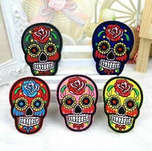 DIY Motif Skull Embroidered Applique Patch Badge Cloth Sew Iron On Craft