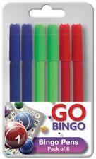 Bingo Markers 6 Dabbers Pens Coloured Set Black Green Felt Red Blue Tickets