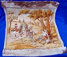 Fine 19th century French pictorial needlework of the wounded knight  Circa 1850