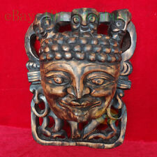 "Folk Art Wood Hand Carved NUO MASK Walldecor decor art - Indian Chief 15.7"" tall"