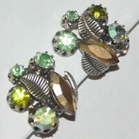 Vintage green, AB rhinestone gold painted marquise prong set clip earrings